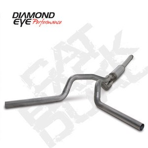 "94-97 Diamond Eye Ford Powerstroke 4"""" Cat Back Dual Exhaust System SS No Muffler"