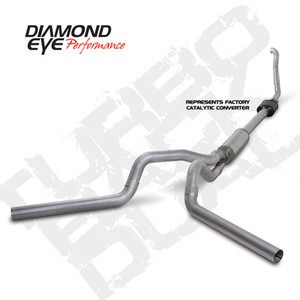 "94-97 Diamond Eye Ford Truck 4"""" Turbo Back Dual Exhaust 3"""" Down Pipe SS No Muff"