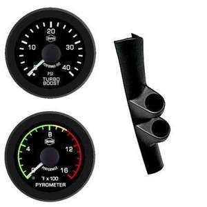 Dodge Ram Cummins Diesel 98-02 Isspro EV2 Black Face/White Pointer 2 Gauges Kit
