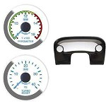 Ford 99-04 Pyro Boost Column Mount Isspro EV2 White Face/Blue Pointer Gauges Kit