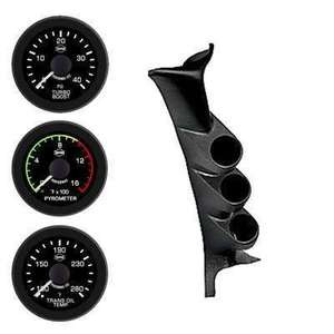 Ford 99-07 Pyro Boost Trans Isspro EV2 LED Black Face/White Pointer 3 Gauges Kit