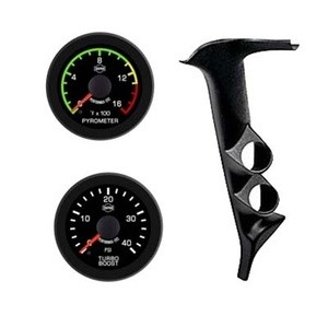Ford Diesel Truck 92-97 Pyro Boost EV2 LED Black Face/Red Pointer 2 Gauges Kit