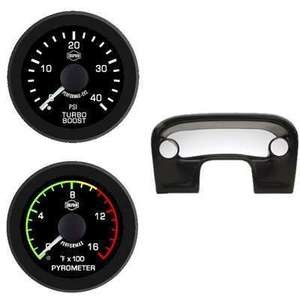 Ford Pyro Boost Column Mount Isspro EV2 Black Face/White Pointer 2 Gauges Kit